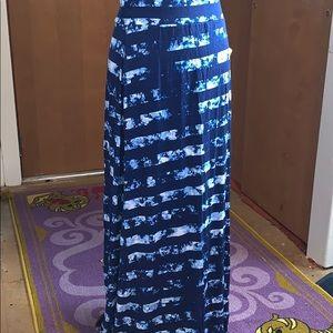A.n.a. Plus size maxi skirt - blue striped tie dye